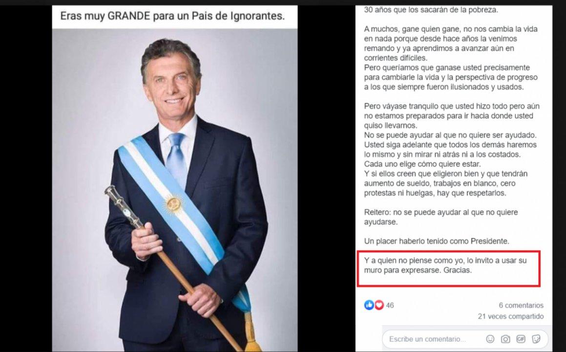 Posteo de Facebook del 29 de octubre último en un muro de un usuario en donde se puede ver que el texto viral es, en realidad, una reflexión y no una carta de Lanata.