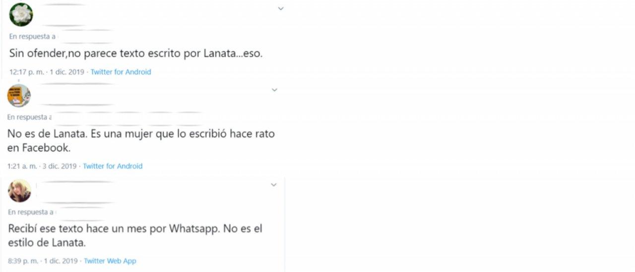 """Capturas de los comentarios en Twitter de usuarios que dudaron de la veracidad de la nota publicada en """"Colussi 52""""."""