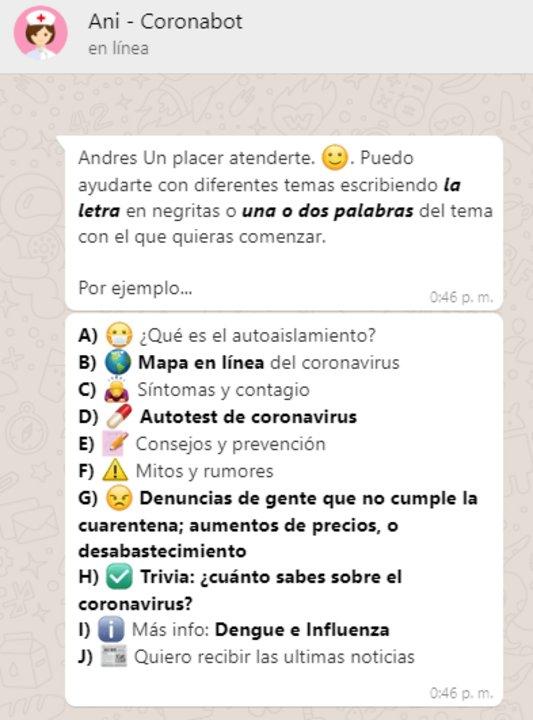 Ani En Whatsapp Responde Tus Preguntas Sobre Coronavirus Cba24n Noticias De Cordoba