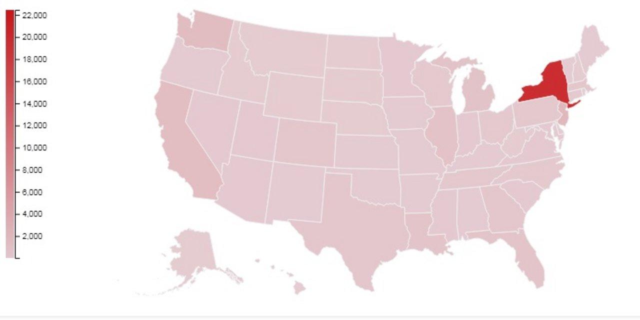 Nueva York concentra más del 50% de los casos de USA