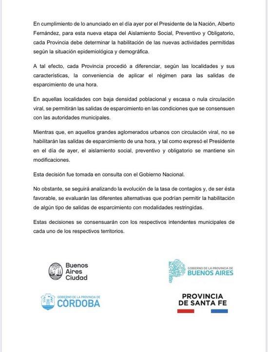 720 - No habrá salidas transitorias en Córdoba