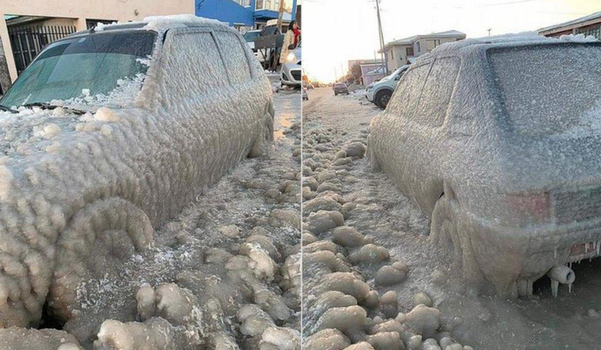Foto: auto congelado en Río Grande, Tierra del Fuego.