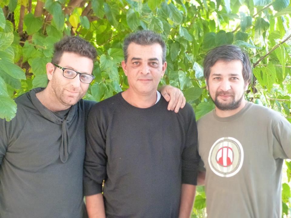 Enrico Barbizi, músico, José Ávila el cumpleañero y Marcelo Sánchez, musicalizador.