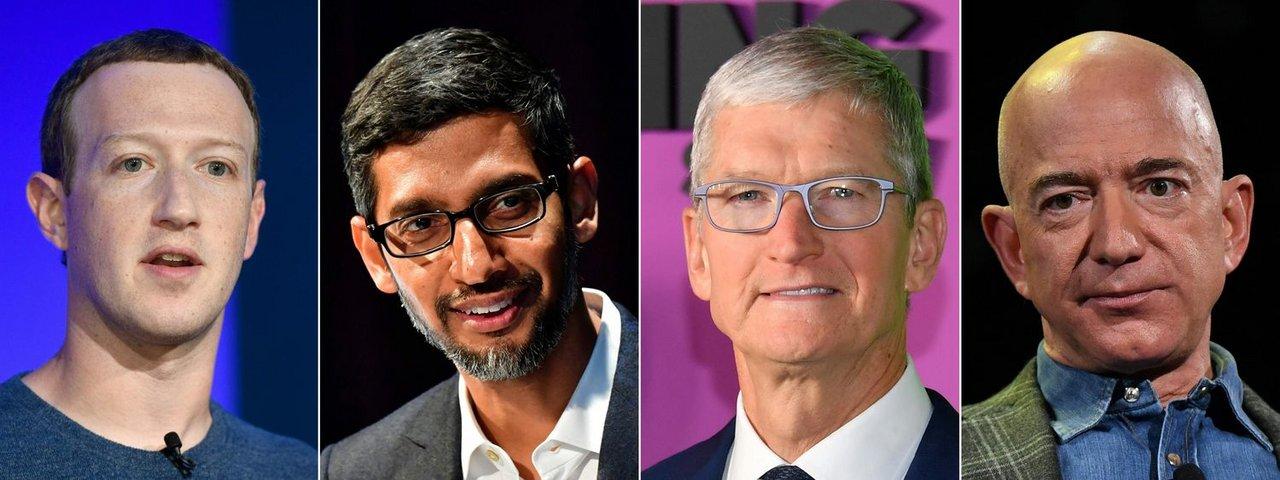 Los CEO de Facebook, Mark Zuckerberg; de Google, Sundar Pichai; de Apple, Tim Cook, y de Amazon, Jeff Bezos