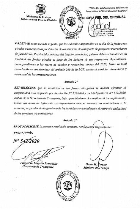 La resolución del Gobierno provincial